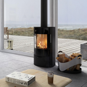 Rais Rina Black Glass Door Wood Burning Stove